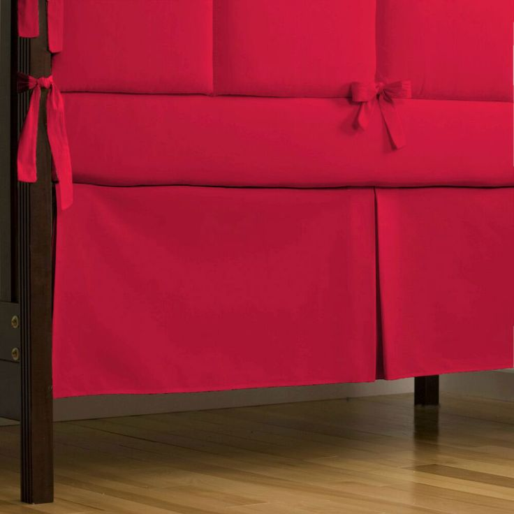 Solid Red Crib Skirt Box-Pleat #carouseldesigns