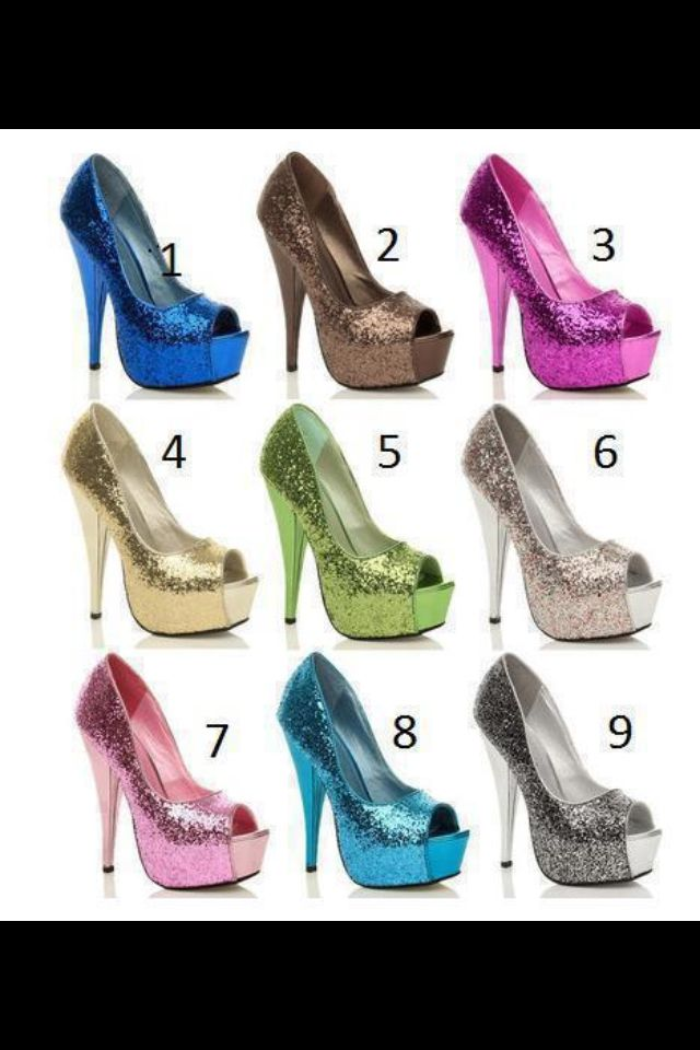 glitter peep toes in all these amazing colours!