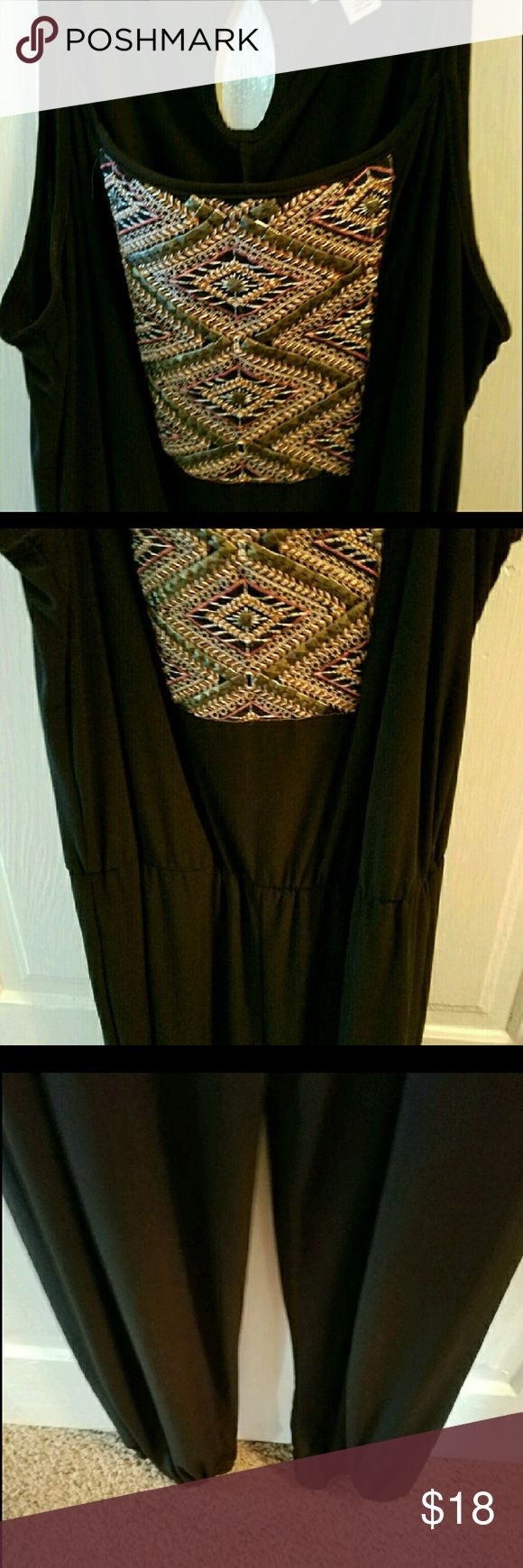 """Black aztec jumpsuit Back with aztec front design jumpsuit wore once on vacation I'm 5'9"""" and size 14 for reference. Has elastic waist could fit up to 16 or 18. Cato Pants Jumpsuits & Rompers"""