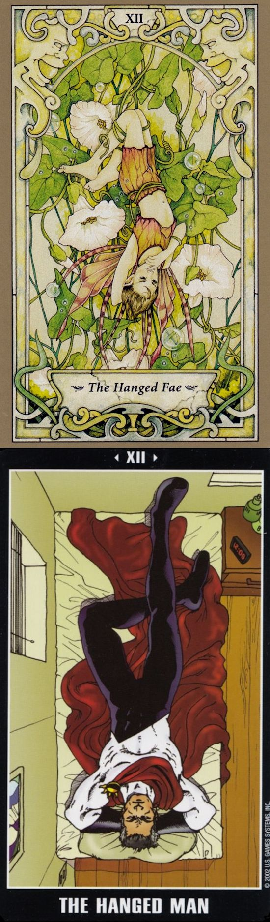 THE HANGED MAN: release of control and waiting to no avail (reverse). Mystic Faerie Tarot deck and Adventure Tarot deck: tarot prediction, yes no love tarot vs tarot free tarot. New guessing booth and playing cards design.