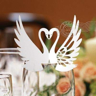 wd0624pcs paper white swan lace laser cut glass cup card name place cards wedding birthday party favors table decorations