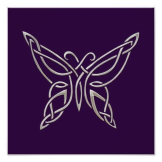 celtic knot butterfly   Silver Purple Celtic Butterfly Curling Knots Print