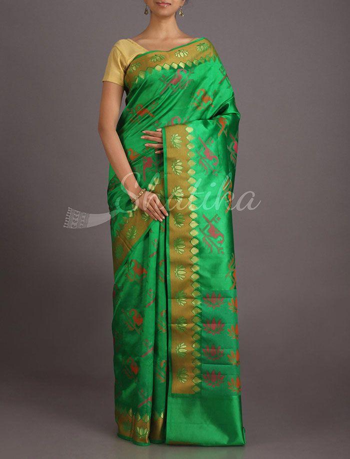 Chaya Parrots And Lotuses Pure Banarasi Tussar Silk Saree