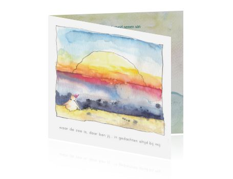 Rouwkaartje baby of kindje met illustratie ondergaande zon