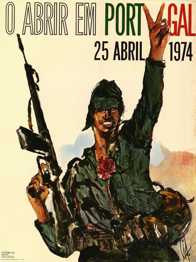 vintage poster remembering the portuguese revolution on 1974, april 25.