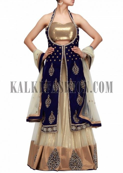 A lehenga choli with long jacket in beige and blue with hand embroidery-Handmade