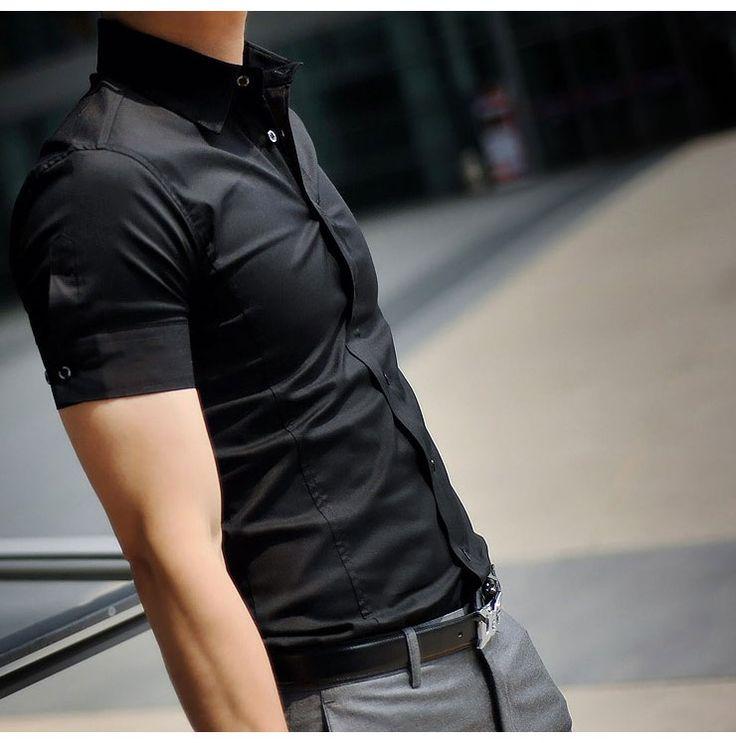 El nuevo verano 2014 boutique de moda hombre camisa de manga corta/para hombre vestido de ocio puro de color de la camisa de la solapa/casual camisas para hombre