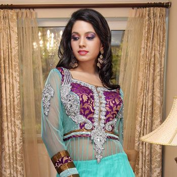 Light Sea Green Net Lehenga Choli with Dupatta Online Shopping: LWK1251