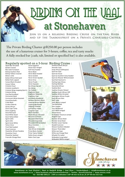 Birding on the Vaal River at Stonehaven - a 3 hour private birding charter with snacks and a fully licensed bar on the Vaal from Stonehaven on Vaal.