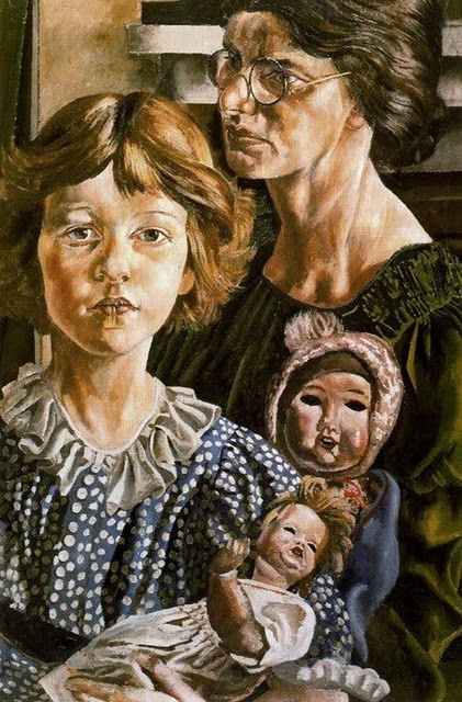 Stanley Spencer, portrait of Hilda (his first wife) Unity (his daughter) and Dolls... English painter 1891 - 1959)