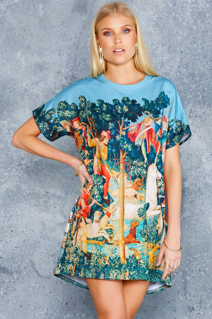 Unicorn Hunt Slouched Tee Dress - 48HR ($80AUD) by BlackMilk Clothing