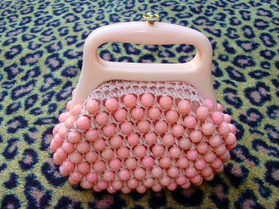 Vintage Bubblegum Pink Beaded Purse Pink Beaded Purse.  made in Italy.