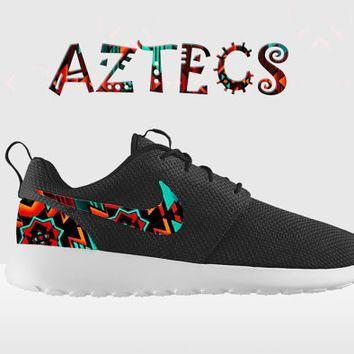 Custom Nike Roshe Run, Aztec Floral Nike Roshe Run, Black and White Nike Native American Roshe, Indian Roshe, Roshe Run, Nike Roshe Run