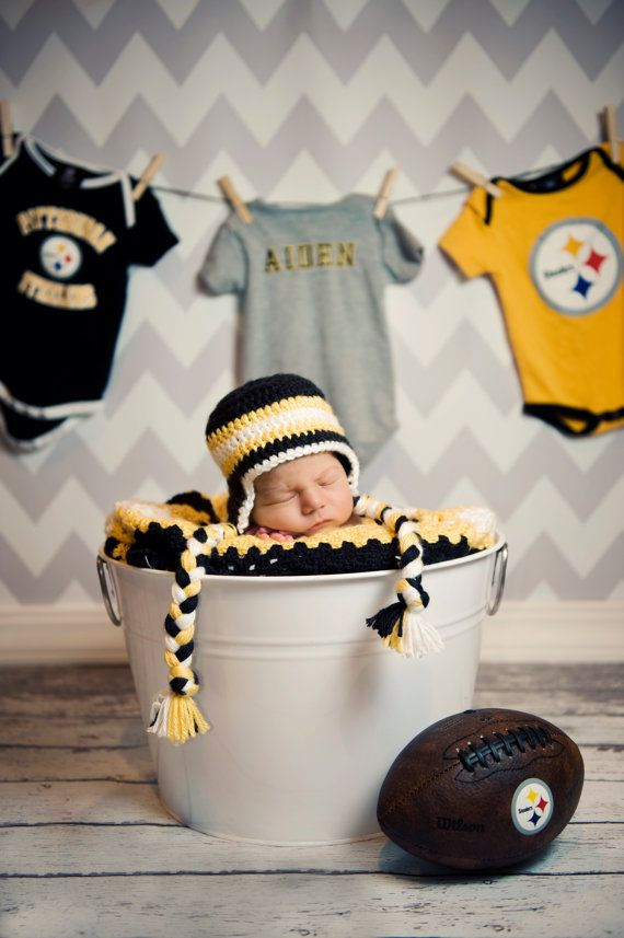 NFL+Crochet+Earflap+Hat+with+Embroidered+Team+by+LadybugCreates,+$27.00