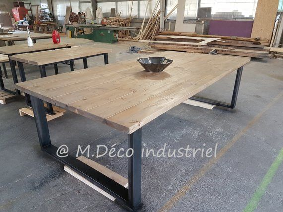 Dining Table Industrial Style Xxl Foot Steel Tray Made Of Solid