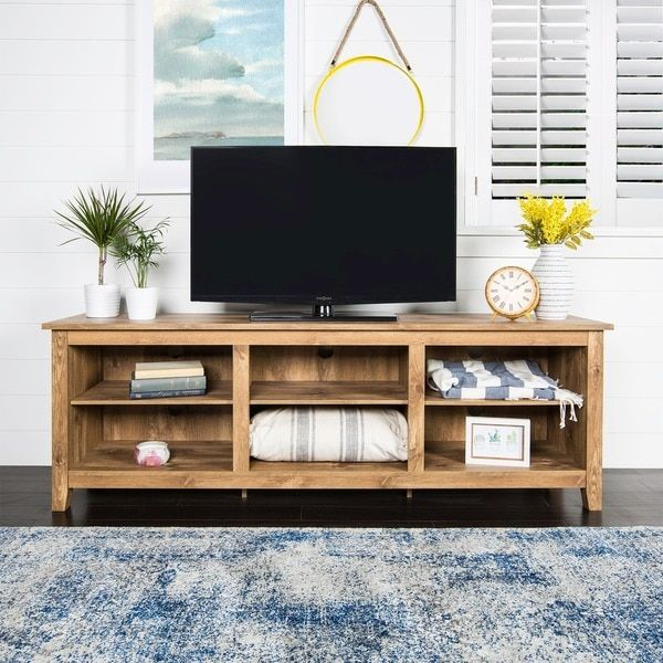 Essentials Barnwood 70 Inch TV Media Stand