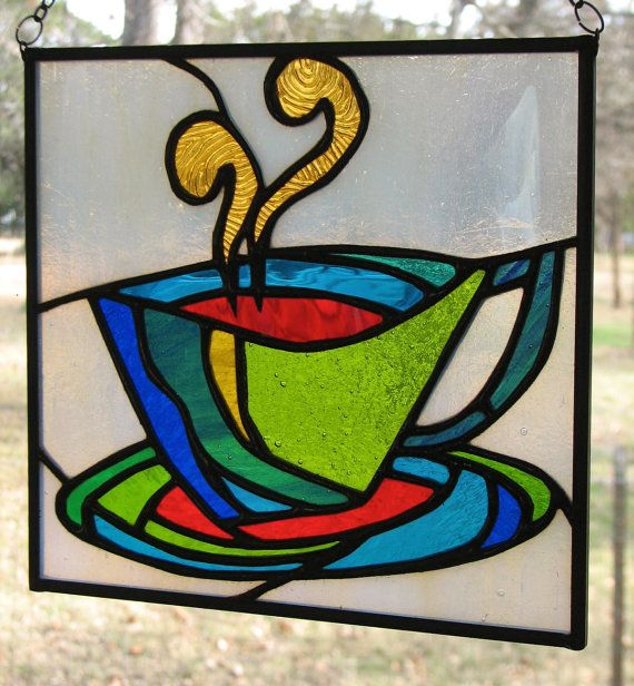 Stained Glass Coffee Cup Mini Panel