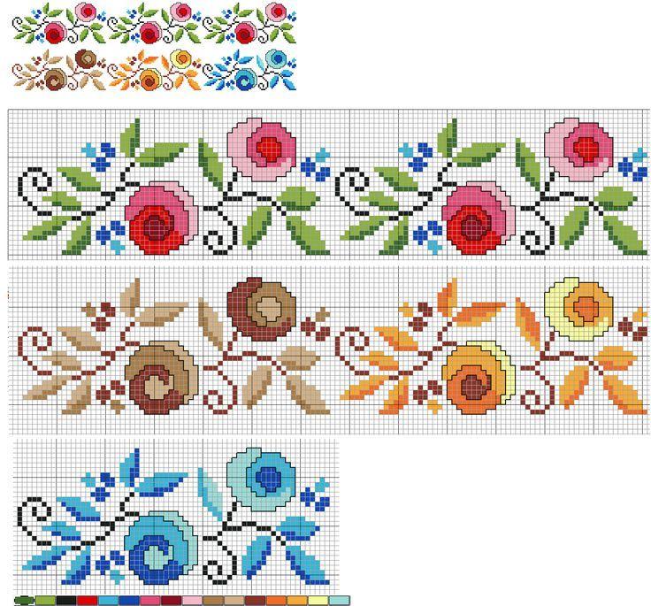 İlle de ' Çiçekli Bordür ' isteyen okurlarım için. Desen aynı, renkler farklı...Hangisini isterseniz...: