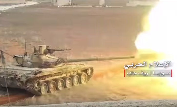 SAA continue advance in Southern Aleppo. T-72M1 with Sarab-1 APS, D-20 152mm, BM-21 Grad and Gvozdikas moving forward.