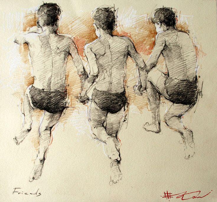 """Friends Drawing 12"""" x 11"""" http://www.andrekohnfineart.com"""