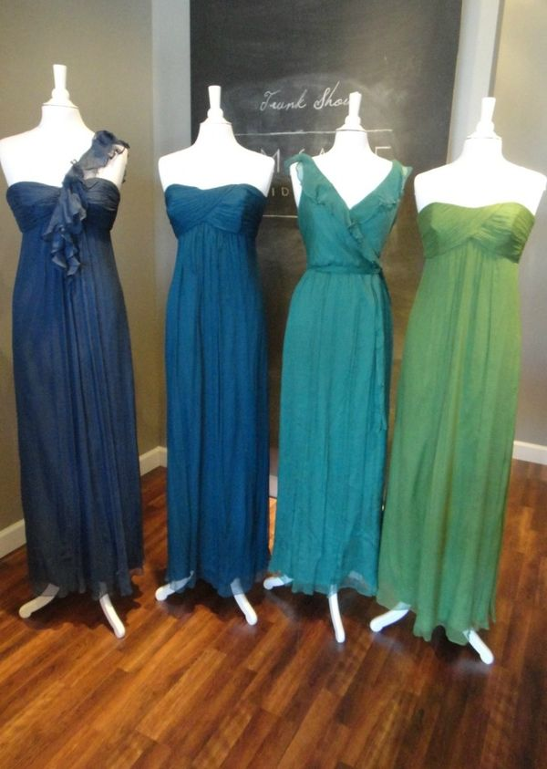 Ready or Knot Wedding Chic Bridesmaid  Color Combo - Peacock from Amsale:  French Blue, Ocean, Pacific, Grass