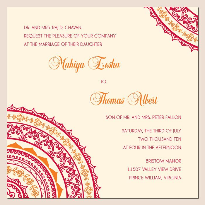 Maybe some Indian flare on the rehearsal dinner invites?