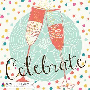 """Celebrate"" Champagne glasses surface pattern design by Robyn Bockmann COPYRIGHT 2014."