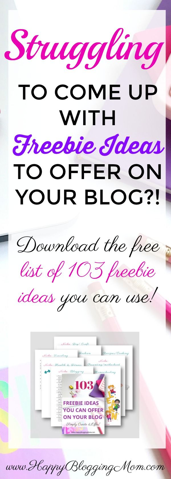 Need help creating a freebie offer for your blog? Don't know which lead magnet to make? Check out this EPIC list of 103 freebies you can create! Download for FREE! Yay!b