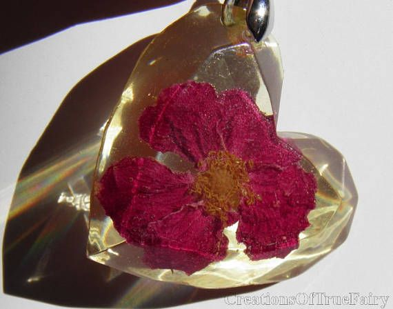 Valentines day gift Red rose heart pendant Romantic jewelry