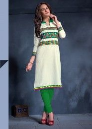 Casual Wear Cotton Cream Embroidered Work Kurti