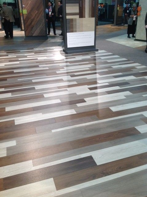 Mannington's Nature's Path commercial LVT in various new colors. Maybe the mixed color installation is a new trend?