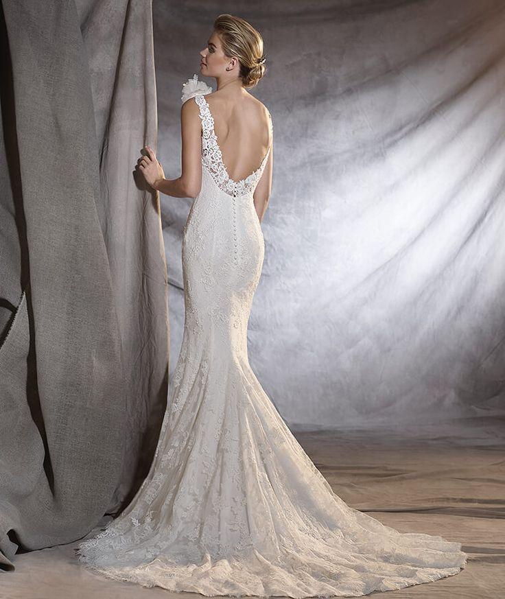 ORIANA - Robe de mariée en tulle et en crêpe à taille basse