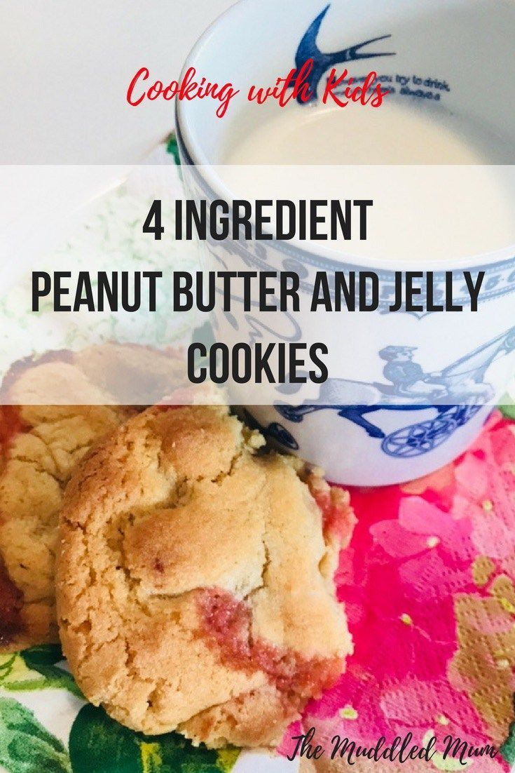 4 ingredient peanut butter and jelly cookies. Pb&j. Cooking with kids