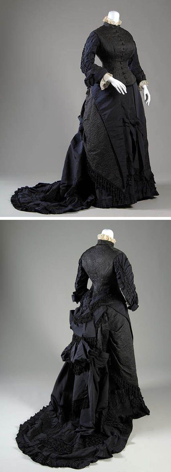 """Afternoon dress, Chouvenin & Legrand, France, ca. 1877. Matelassé and silk faille. Museum of the Fashion Institute of Technology: """"The bustle of the late 1870s emphasized the derriere, while the tightness of the dress in front also outlined the shape of a woman's legs. Pronounced curves, as in this gown, were aided by new techniques in corsetry that precisely molded the length of the body and made the bust more prominent."""""""