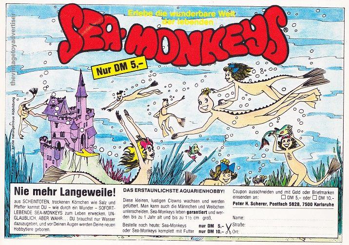 Sea Monkeys The Vintage Toy Advertiser Monkeys Funny Vintage Toys