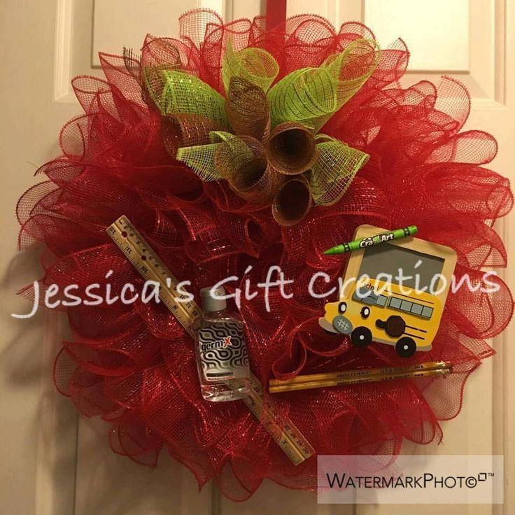 Made to Order Teacher Mesh Wreath/Apple Wreath/Front Door Decor/Classroom Decor/Back to School Gift/End of School Gift/Teacher Gift/Burlap by JessicasGCreations on Etsy