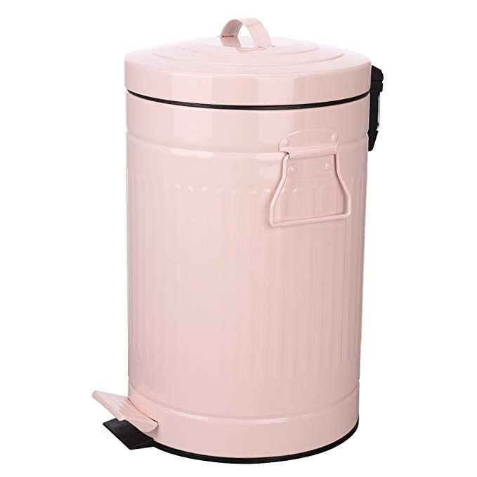 Kitchen Trash Can With Lid Pink Bathroom Garbage Can Round Waste Bin Soft Close Retro Vintage Metal Bathroom Trash Can Kitchen Trash Cans Bedroom Trash Can