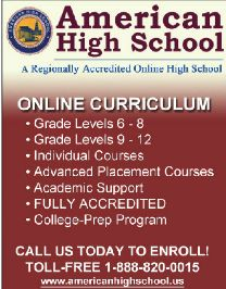 American High School is a regionally accredited ONLINE high school!