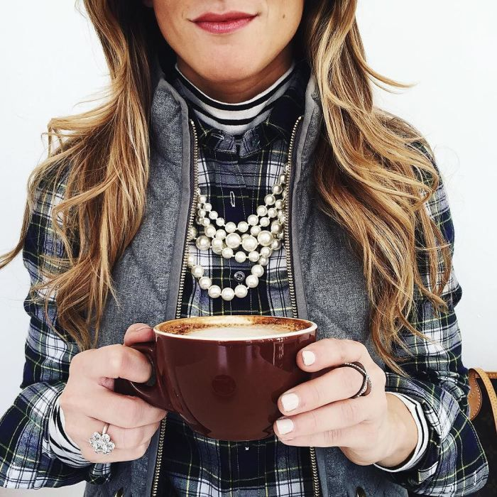 @brightonkeller // BrightonTheDay Blog // Striped turtleneck layered under J. Crew plaid button with grey vest and chunky pearls // plaid shirt outfit // puffer vest outfit ideas