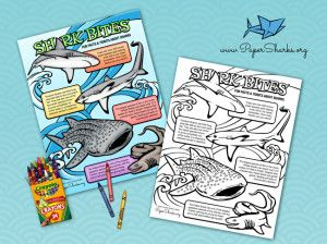 Kids coloring page with fun facts about sharks