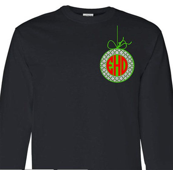 Monogram Moroccan Christmas Ornament Adult Long Sleeve T-Shirt, Christmas Monogram Clothing, Personalized Holiday Shirt  LOVE the tie on top!
