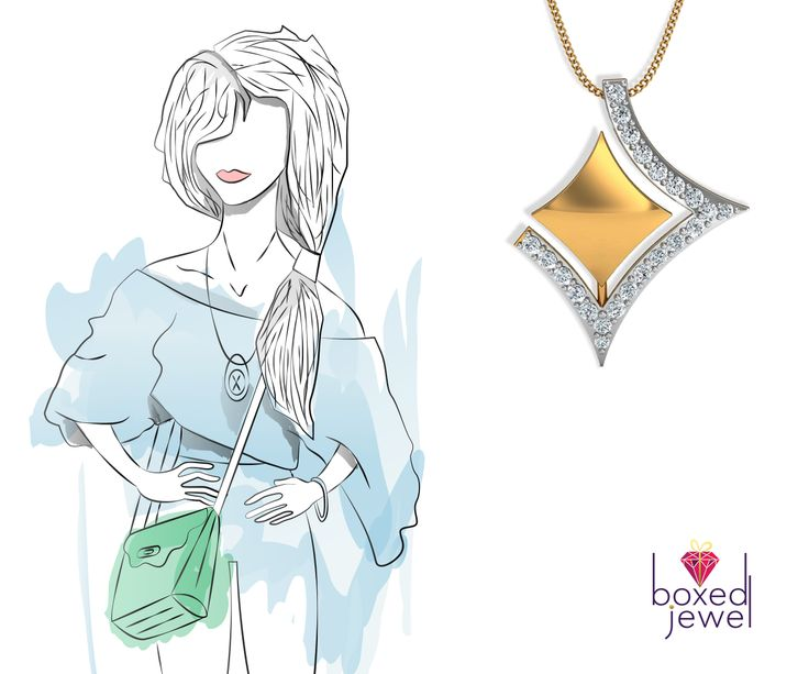 Pair this unique pendant with your off-shoulder top and you are ready to attend that special event.   #Jewelry  #Pendant  #GoldJewelry