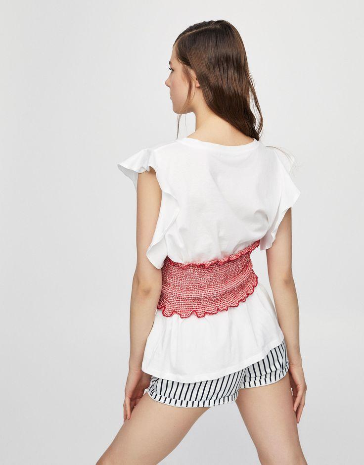 Maglietta manica volant corsetto - Novità - Donna - PULL&BEAR Italia