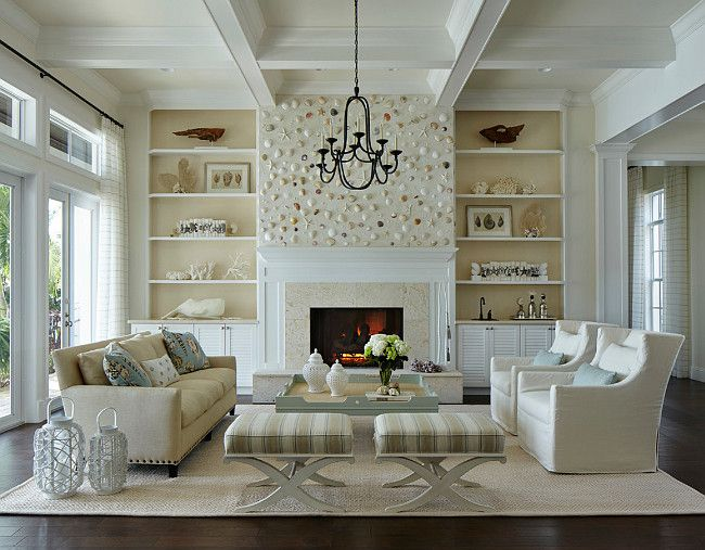 Living room. Coastal living room. Coastal living room with shell fireplace.