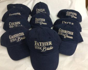 2 Embroidered  Adult Hat,  Father of the bride, Father of the Groom Hat, Wedding Party Hat - Pick your colors