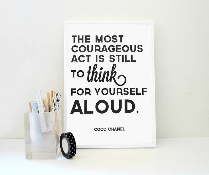 coco chanel quote think for yourself aloud by sacred & profane designs | notonthehighstreet.com