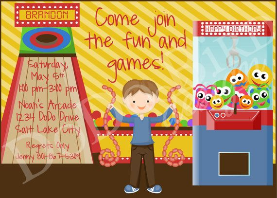 7 best images about Pizza Arcade Birthday Party – Arcade Party Invitations