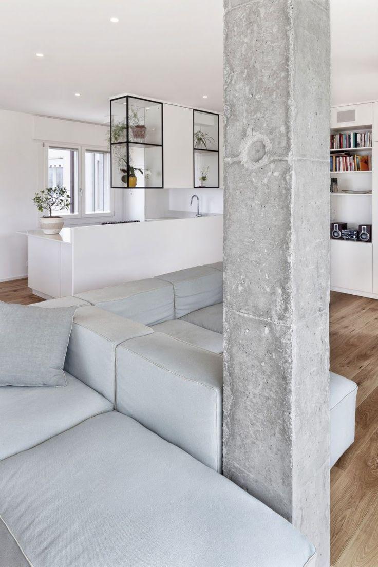 Diseño de Interiores & Arquitectura: Casa Decorada con Elementos de Madera de Hormigon Ligero Blanco