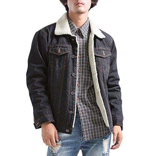 86457e46eb91f SALE PRICE -  45.99 - Fluorodine Men s Sherpa Lined Denim Jacket Button  Down Trucker Coat