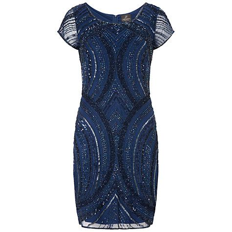 MOB Buy Adrianna Papell Beaded Cocktail Dress, Twilight Online at johnlewis.com